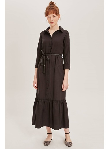 DeFacto Beli Kemerli Gömlek Elbise Siyah